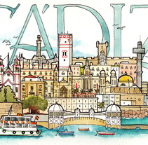 Cuaderno de viaje de Cádiz. Un proyecto de Ilustración de JOAQUIN GONZALEZ DORAO         - 02.10.2012