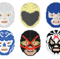 Lucha Libre pixel-portraits.. A Illustration, Film, Video, and TV project by Tom Major - 27-12-2012