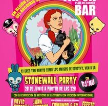 """Cartel """"Stonewall Party"""" - Tapoa Bar. Un proyecto de Diseño, Ilustración y Publicidad de Fernando Fernández Torres - 27-06-2013"""