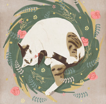 Grooming cat. A Illustration project by Sara Olmos - 21-07-2013
