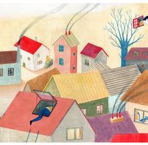 Les fenêtres magiques (Children's illustration). A Illustration project by Paloma Corral - Aug 19 2014 12:00 AM