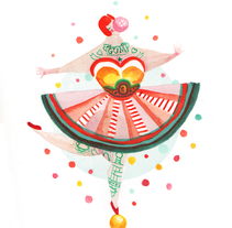 Acrobat Gum (acuarela y rotulador). A Design, Illustration, Character Design, and Fine Art project by Olga M. - Sep 28 2014 12:00 AM