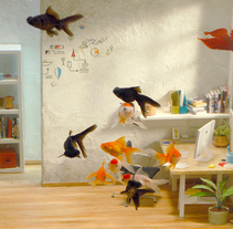 Maqueta de oficina-pecera para WSS. Diseño y realización.. A Installations, Art Direction&Interior Design project by Cinta Vidal Agulló - 23-02-2015