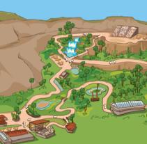 Palmitos Park - Ilustración de mapa . A Illustration project by Maria Dolores Abujas - 05-03-2013