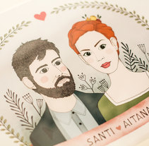 Retrato Santi & Aitana. A Illustration project by Estíbaliz  Ferrete         - 23.04.2015