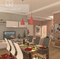 Propuesta de diseño interior para una casa unifamiliar (3DStudio + Vray + Photoshop). A Design, 3D, Architecture, Interior Architecture&Interior Design project by Laura         - 19.08.2015