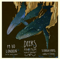 Cartel Sebright Arms: Deers(Hinds) + Pink Film + Wolf Solent. A Graphic Design project by Lois Brea Ares         - 31.08.2015