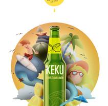 Cerveza KEKU con Limón!!. A Illustration, and Advertising project by Ricardo Martínez López         - 16.09.2015