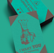 Tarjetas de captación de clientes para toptasting. A Design, Illustration, Advertising, Art Direction, Br, ing, Identit, Editorial Design, Cooking, Graphic Design, Information Design, and Marketing project by Hugo Gonzalez Suarez         - 26.11.2015