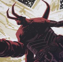 """Hellboy """"Here to protect"""". Un proyecto de Ilustración y Serigrafía de Coke Navarro - 19-01-2016"""