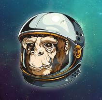 Space Chimp. Um projeto de Design, Ilustração, Direção de arte, Artes plásticas e Design gráfico de David Sanz Soblechero         - 06.02.2016