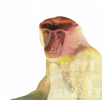 happy chinese new year of the monkey. A Illustration, and Fine Art project by marta zafra - 07-02-2016