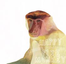 happy chinese new year of the monkey. Um projeto de Ilustração e Artes plásticas de marta zafra - 07-02-2016