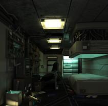 Texturing and Lighting Hitech room. Inspired in Cornelius Dämmrich work. Un proyecto de 3D y Diseño de iluminación de Ángela Medina Agulló - 29-11-2014