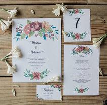 Invitaciones para bodas. Un proyecto de Ilustración, Diseño editorial y Diseño gráfico de Ana Victoria  Calderon - 07-12-2016