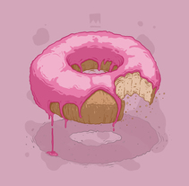 Donut: cabecera para web. Un proyecto de Diseño, Ilustración, Bellas Artes, Pintura y Diseño Web de Dhani Barragán - 13-11-2016