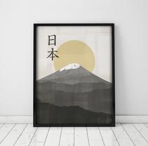 Póster Monte Fuji, Japón . A Graphic Design project by Mónica Grützmann         - 07.12.2015