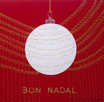 Christmas Card /// #red #gold #white #ball. A Illustration, Art Direction, Br, ing, Identit, and Fine Art project by Silvia Miralles Badia         - 24.12.2016