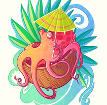 Octopus on the Beach. A Design&Illustration project by Gema Moratilla         - 07.06.2017