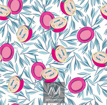 "Estampado ""Pink fruits"". A Design, Graphic Design, and Pattern design project by Amparo Mercader         - 11.06.2017"