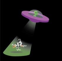 alien & cow. Un proyecto de Ilustración vectorial de Sergio Alvarez         - 16.06.2017