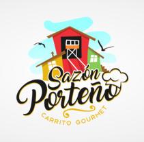 Sazon Porteño, Logotipo para carrito de comida rapida.. Um projeto de Br e ing e Identidade de Claudio Osorio         - 25.09.2017