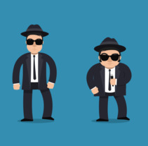 The Blues Brothers loop animation. A Design, Motion Graphics, Animation, Character Design, Film, Rigging, Character animation, and Vector illustration project by Héctor Pascual del Pozo         - 20.10.2017