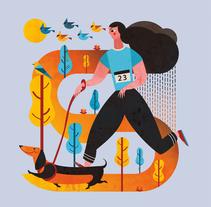 Ilustración - Canicross Gorraiz 2017. A Design, Illustration, Character Design, Graphic Design, and Vector illustration project by Concepción Domingo Ragel - 14-11-2017