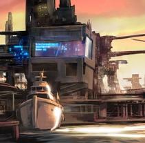 Puerto futurista pre-apocalíptico: Iniciación al concept art: diseñando el futuro. Un proyecto de Ilustración de Eloi Matas i Riera - 23-11-2017