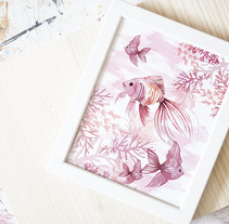 Colección OCEAN PINK- pattern design. Um projeto de Design, Ilustração, Artes plásticas, Design de produtos e Diseño de patrones de Rebeca Martín Martínez         - 29.01.2018