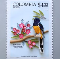 Sello postal de Colombia . A Illustration, Character Design, Crafts, Editorial Design, Fine Art, L, scape Architecture, and Paper craft project by Diana Beltran Herrera - 30-01-2018