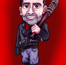 Negan and Lucille caricature + Speedpaint. A Illustration project by AdrianArt         - 01.03.2018