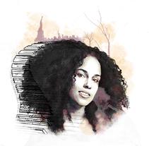 'Alicia'. Proyecto del curso: Retrato ilustrado con Photoshop. Un proyecto de Ilustración, Dirección de arte y Diseño gráfico de Raquel Casilda         - 13.03.2018