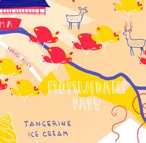 Mapa de Miyajima . Un proyecto de Diseño, Ilustración y Tipografía de Tina Tamay         - 09.03.2018
