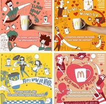 """Ilustraciones para McDonald's y su campaña de """"Café gratis los Lunes"""". A Illustration, and Vector illustration project by Juanma García Escobar         - 20.04.2018"""